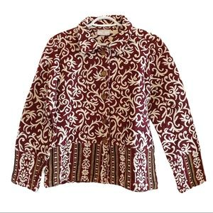 Vintage boho red and cream tapestry jacket